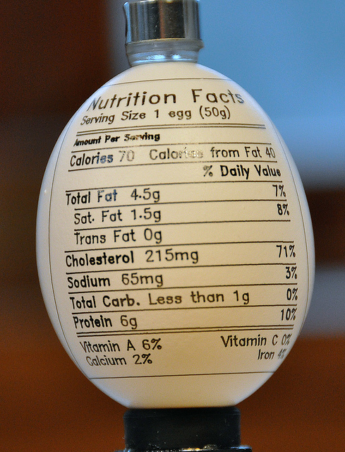 Nutrition Facts for 1 large Egg (50g)