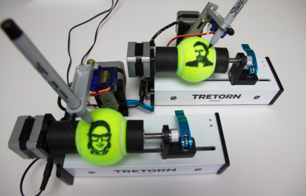 Tennis balls in the EggBot Pro