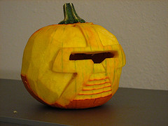 Carved Cylon pie pumpkin
